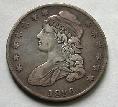 1836 Capped Bust Half Dollar Silver Coin 50c