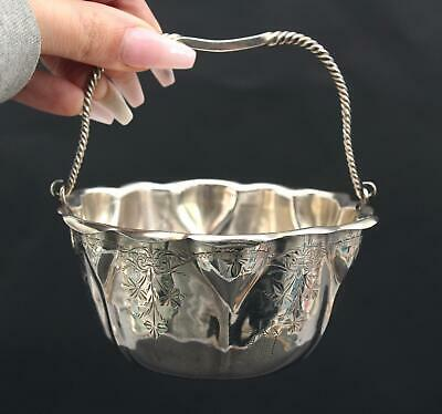 Sm 19thC Antique Aesthetic Whiting Sterling Silver Hand Hammered Engraved Basket