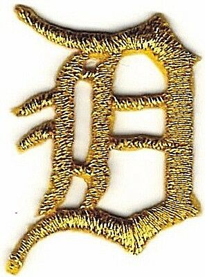 "1 1//8/"" Fancy Metallic Gold Old English Alphabet Letter H Embroidered Patch"