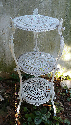 Vintage Cast Iron Country French White 3 Tier Shelf Plant Stand Victorian Ornate