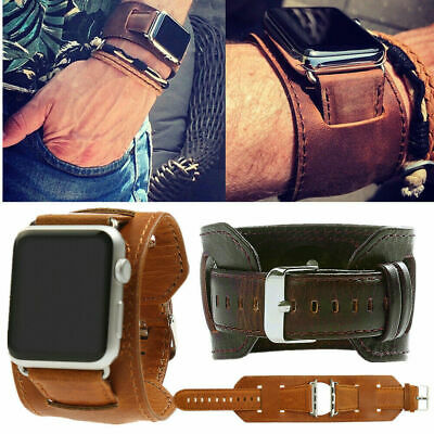 38-44mm Cuff Leather Watch Band For Apple iWatch Series 5 4 3 2 1 Bracelet Strap