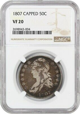 1807 50c NGC VF20 (Capped, 50/20) Nice Type Coin - Bust Half Dollar