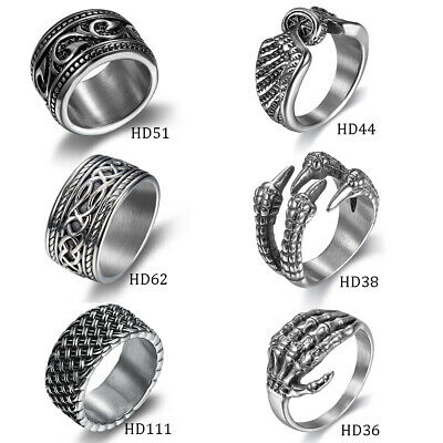 Mens Solid Silver Stainless Steel Rings Celtic Claw Skull Punk Biker Finger Band