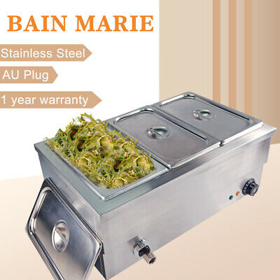 3 Pots Bain Marie Electric Buffet Food Warmer Pan Heater Wet & Dry Heating Pool