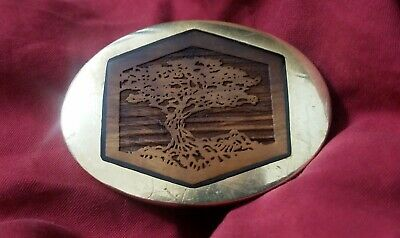 Vintage 70's Oval Trinity Solid Brass Belt Buckle with Carved Wood Inlay