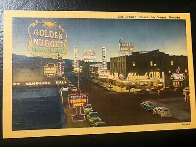 Old Fremont St. W/ Golden Nugget Hotel And Casino, Pioneer Club..nevada Postcard