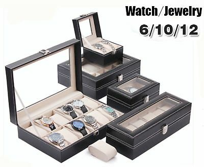 Leather Watch Jewelry Display Storage Holder Case 12 Grids Box Organizer Gift A3