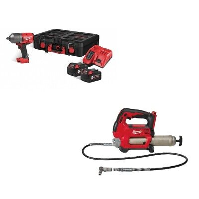 Milwaukee M18FHIWF12-502X + M18GG 18v Twin Pack Kit 2 Batteries Charger Box