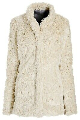 NEXT Cream faux fur Shaggy Fluffy Boho Coat Jacket Size S