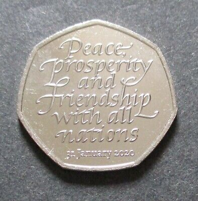 "British 2020:""BREXIT FIFTY PENCE COIN"" (Peace, Prosperity & Friendship, EU, EEC)"