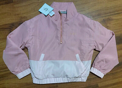 NWT Justice Girls Size 12 Colorblock Pink Windbreaker  Jacket Collection X New