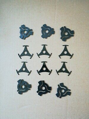 12 X Black 45 Rpm Record Adapters & Tripoint Centres / Spiders