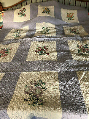 Vintage Hand Embroidered & Quilted Calender Quilt- EXCELLENT!!!!!!
