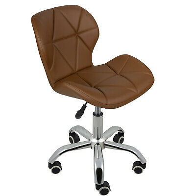 REBOXED Computer Desk Office Chair Chrome Legs Lift Swivel Adjustable Brown