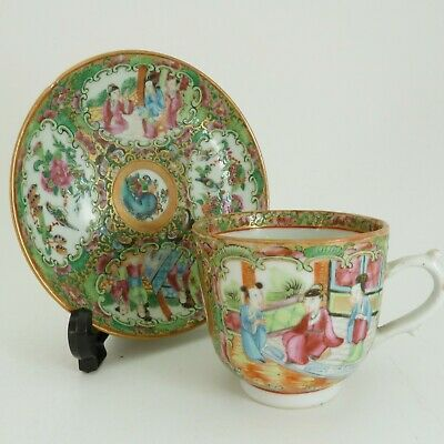 CHINESE CANTON ROSE MEDALLION PORCELAIN TEA CUP AND SAUCER, 19th CENTURY
