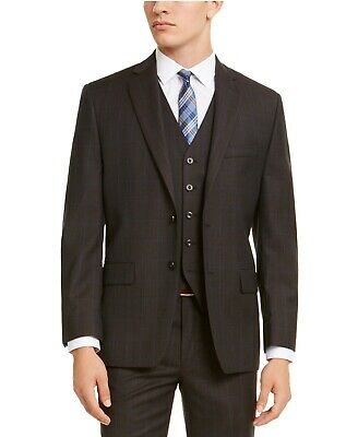 $650 Michael Kors Classic-Fit Stretch Brown Blue Windowpane Suit 52L / 44 x 34
