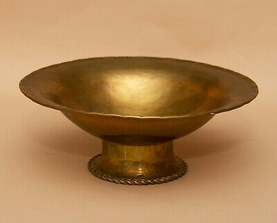 Antique Hugh Wallis Arts and Crafts footed pedestal brass bowl Dish H W