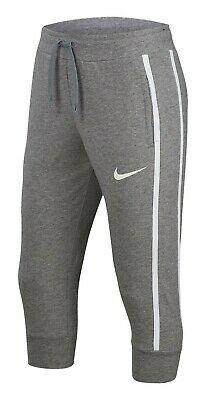 Nike Girl's NSW Capri Jersey Pants ** CARBON HEATHER/WHITE - Medium ** NWT