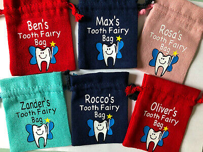 Personalised Lost Tooth Fairy Drawstring Bag Pouch Boys/Girls Coins Dust Pillow