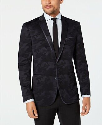 Kenneth Cole Reaction Men's Slim-Fit Navy Tonal Camouflage Evening Jacket 48R