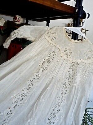 2 Antique Baby lace Christening Gowns, and Slip W/ Embroidery,