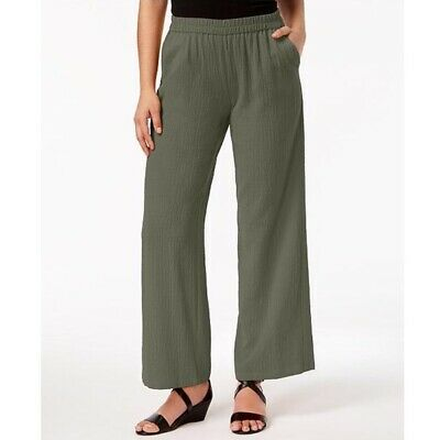 JM Collection Woven Crinkle Pull-On Wide-Leg Casual Pants, Olive Sprig NWT Large