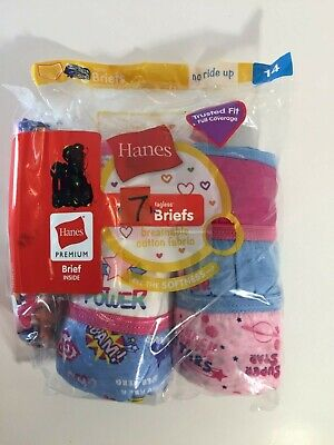 Hanes Girls' Tagless Cotton Low Rise Briefs Girl Power Themed 7 Pack - Size 14