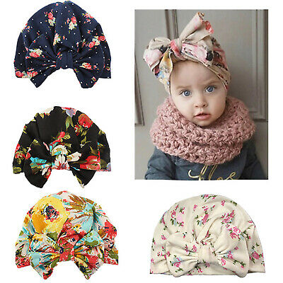 Baby Girls Toddler Bow Turban Head Wrap Hat India Ear Cap Floral Hijab Headband