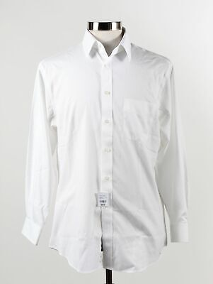 NWT White Cotton Collared Long Sleeves Button Up Dress Shirt Size 16-32