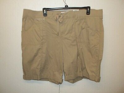 NWT Sonoma Womens Khaki Bermuda Shorts-24W-Comfort Waist-Relaxed Fit
