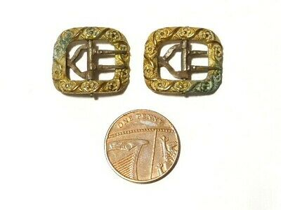 Two Antique Georgian Small Buckles Gilt Metal with Floral Pattern Some Wear A/F