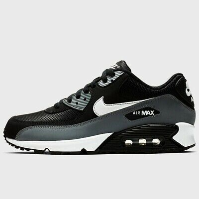 AIR MAX 90 Essential Mens Womens Trainers Black/White-Grey Sneaker Running Shoes