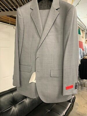 New 44R Men's Light Grey Suit 100% Wool Super 150 Made in Italy Retail $1295