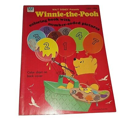 1976 Walt Disney's Winnie The Pooh Number Coded Coloring Book By Whitman LQ