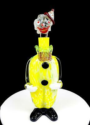 """Murano Italy Art Glass Yellow Mottled Large 15 1/4"""" Circus Clown Decanter"""