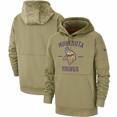 Minnesota Vikings Tan 2019 Salute to Service Sideline Therma Pullover