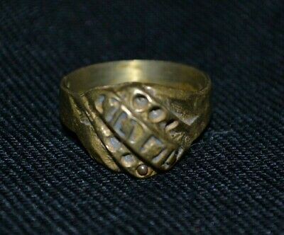 Ring Ancient Roman Medieval Design Bronze Old Very Rare Openwork Gold Color