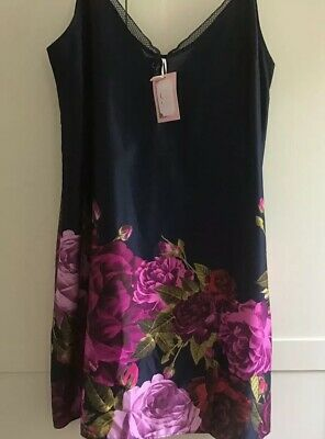 B By Ted Baker New Navy Juxtapose  Satin Chemise Nightie Vivid Floral Print 14