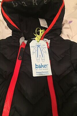 Ted Baker New Baby Snowsuit padded Navy Red Heatseal 6-9 Mont