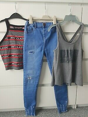 Girls River Island New Look Abercrombie Jeans Tops Bundle Age 10-11 Years