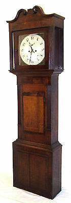 Antique 8 Day Inlaid Oak & Mahogany Longcase Grandfather Clock