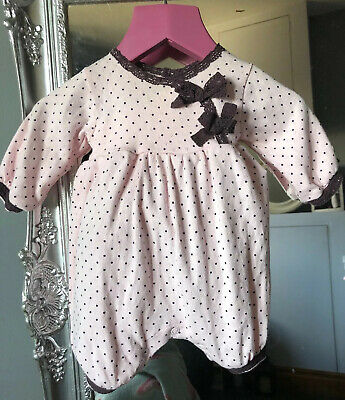 lili gaufrette Romper, Pink & Brown Lace Detail, Perfectly Adorable, New Born.