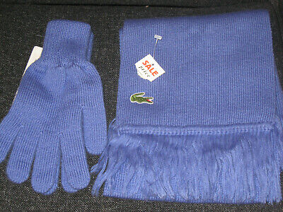 Vintage Unisex Lacoste Mauve Scarf And Matching Gloves