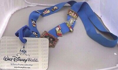 Vintage Disney Trading Pins 2007 w/ Lanyard & Card Lot of 10 Mickey Tramp Donald