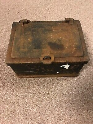 Antique Strongbox 1800's Reinforced Steel Stagecoach Lock Box * Heavy Old