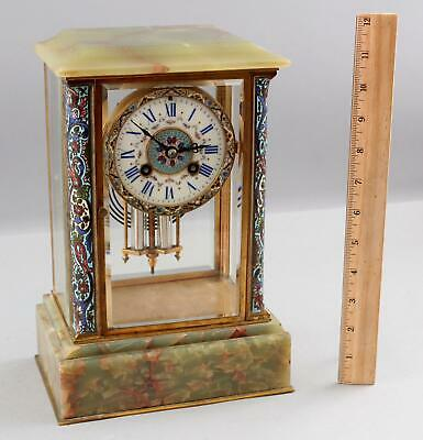 Antique Gilt Brass, Champleve Enamel & Agate French Crystal Regulator Clock