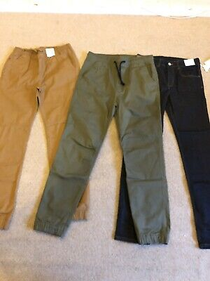 Boys Age 14 Chino Bundle, New With Tags. Khaki, Beige And Dark Wash Jeans.