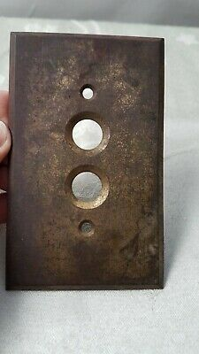 Vintage Brass Push button Light Switch Plate COVER_Old_FREE US SHIPPING