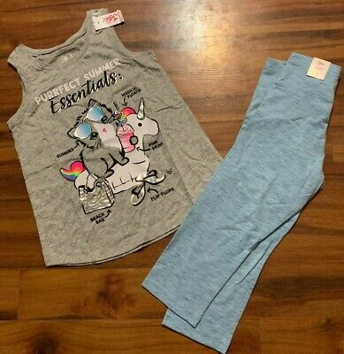 Justice Girl's Size 10 PURRFECT Summer Essentials Tank Top & Capri Leggings Crop