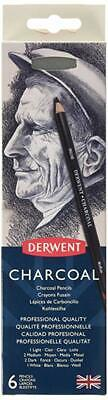 Derwent Charcoal Drawing Pencils, Set of 6 with Sharpener, Professional Quality,